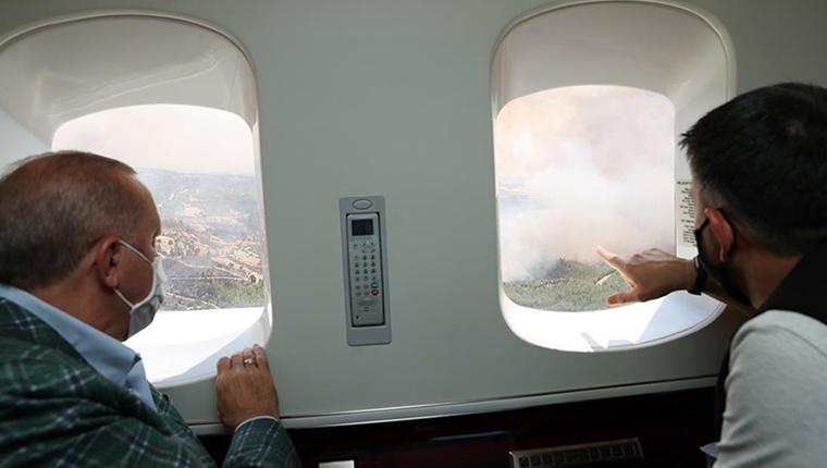 Cumhurbaşkanı Erdoğan, yangın bölgelerini inceledi