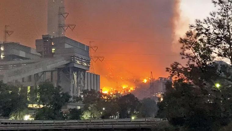Orman yangını Kemerköy Termik Santrali'ne sıçradı