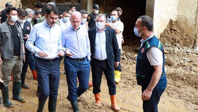 Bakanların Rize'deki afet bölgesinde incelemeleri sürüyor